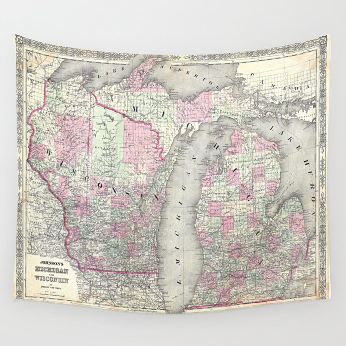 Michigan And Wisconsin Map.Michigan And Wisconsin Map Print From 1863 Wall Tapestry By