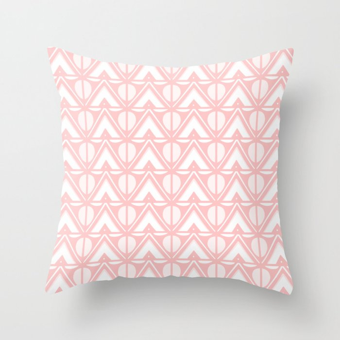 Sun & Mountains - Mid Century Modern Geometric Soft Coral Throw Pillow