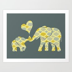 Elephant Hugs Art Print