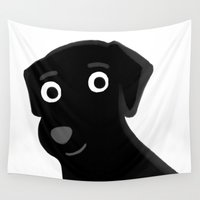 lab Wall Tapestries featuring Black Lab - Cute Dog Series by Cassandra Berger