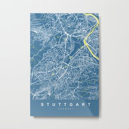 STUTTGART City Map | Germany | Blue | More Colors, Review My Collections Metal Print