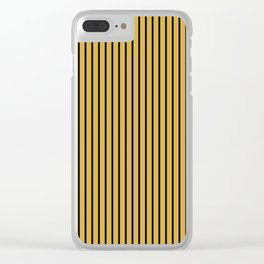 Spicy Mustard and Black Stripes Clear iPhone Case