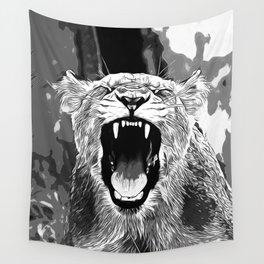 african lioness safari cat v2 vector art black white Wall Tapestry