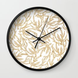 Gold Coral Ferns Wall Clock