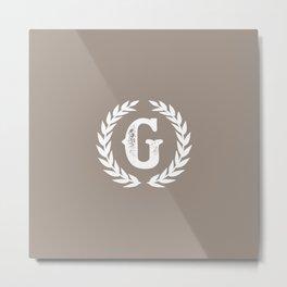 Beige Monogram: Letter G Metal Print