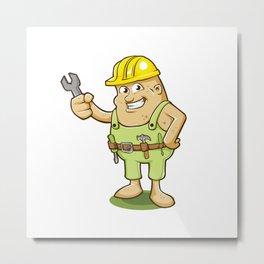 potato worker cartoon Metal Print