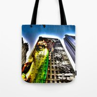mike wrobel Tote Bags featuring Mike by Klezmatik