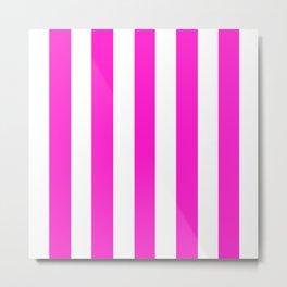 Hot magenta pink - solid color - white vertical lines pattern Metal Print
