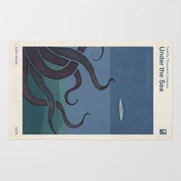 Jules Verne's Twenty Thousand Leagues Under the Sea - Minimalist literary design, literary gift Rug