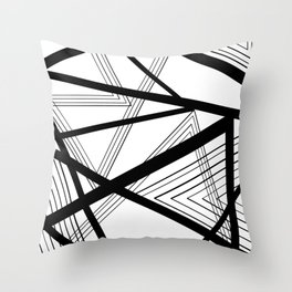 Black and White Abstract Geometric Throw Pillow