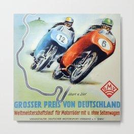 Nurburgring German Motorcycle Road Race Vintage Poster, Circa 1955 Metal Print