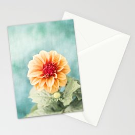 Aqua Orange Dahlia Flower Photography, Turquoise Teal Peach Nature Art Stationery Cards