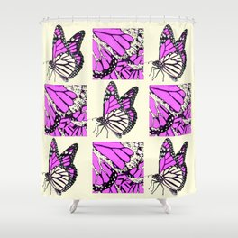 DECORATIVE FUCHSIA PINK BUTTERFLY IDENTIFICATION CHART Shower Curtain