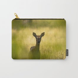 Keeping Tabs - Watchful Young Deer Through Tree Leaves in Wyoming Carry-All Pouch