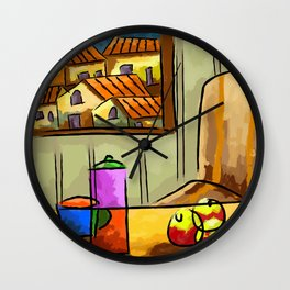 Composition homes fruit coffee Wall Clock