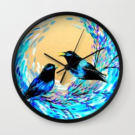 Bower Birds Wall Clock