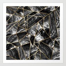 Black White Agate Black Gold Geometric Triangles Kunstdrucke