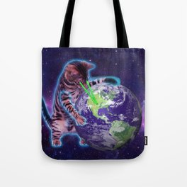 Cat destroying the world with eye laser Tote Bag
