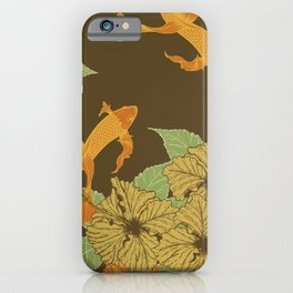 Brown Floral Koi Pattern iPhone Case