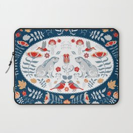 Bunnies, hummingbirds, birds, flowers and leaves. Oval decorative ornament. Floral decorative frame. Laptop Sleeve