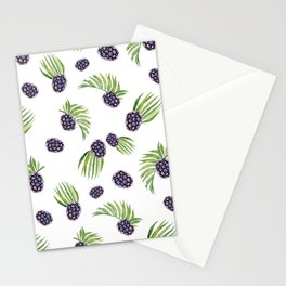 Hand painted black green watercolor fruity blackberries Stationery Cards