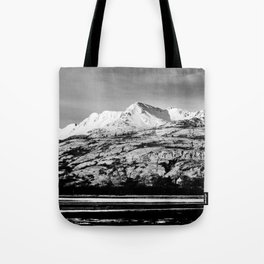Black and White Mountain Photography Print Tote Bag