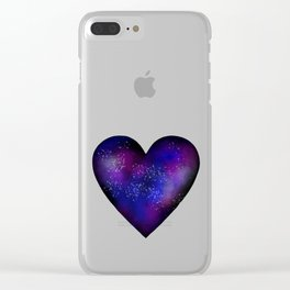 Space stars heart Clear iPhone Case