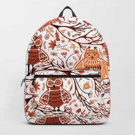Cute Owls in Fall on Tree Branches Backpack