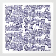 Doctor Who Toile de Jouy   'Walking Doodle'   Blue Art Print