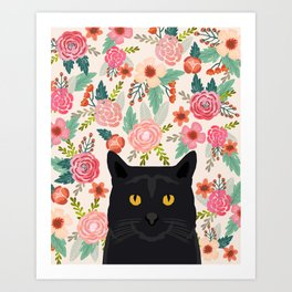 Black Cat florals spring summer animal portrait pet friendly cat lady gifts for her or him cute cats Kunstdrucke