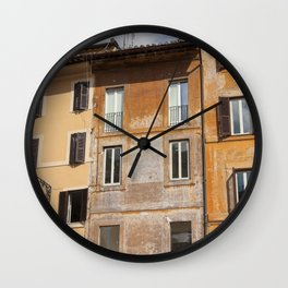 A beautiful streetview of the old orange houses in Rome, Italy  | Color Photography | Travel Photography | Street Photography | Photo Print | Art Print Wall Clock