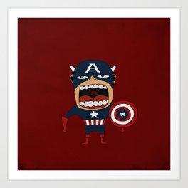 Screaming Captain America Art Print
