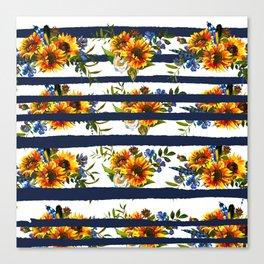 Watercolor navy blue orange yellow sunflower stripes Canvas Print