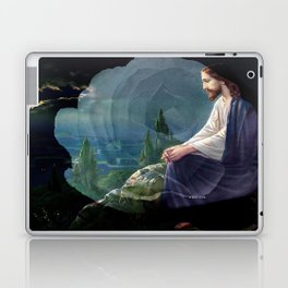 Jesus Christ On Mount Olive With White Rose By Annie Zeno Laptop & iPad Skin