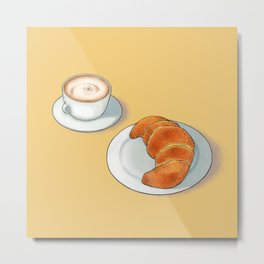Good morning with some freshly baked cornetti and cappuccino Metal Print