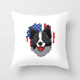 Patriot Border Collie USA Flag Pawtriot Stars Stripes Throw Pillow