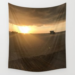 Boardwalk Beach Sunset Wall Tapestry