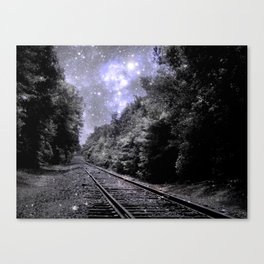 Train Tracks Next Stop Anywhere Periwinkle Gray Canvas Print