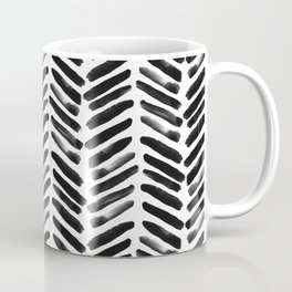 Simple black and white handrawn chevron - horizontal Coffee Mug