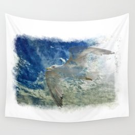 Passing Through - Seagull and Clouds Wall Tapestry