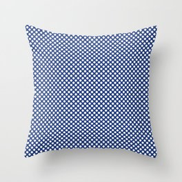 Sapphire and White Polka Dots Throw Pillow