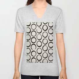 Polka Dots Circles Tribal Black and White Unisex V-Neck