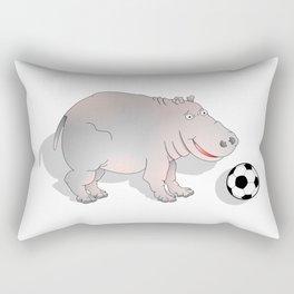 Hippo playing Football Rectangular Pillow