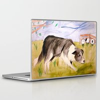 border collie Laptop & iPad Skins featuring Border Collie by Caballos of Colour