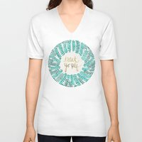 typography V-neck T-shirts featuring Treat Yo Self – Gold & Turquoise by Cat Coquillette