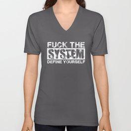 Fuck The System [White] Unisex V-Neck