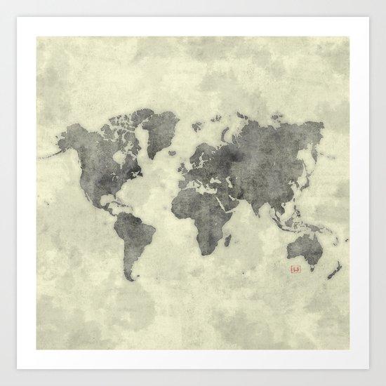 World Map Black Vintage Art Print