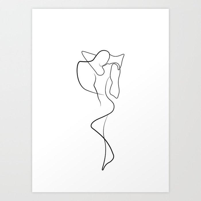 Lovers - Minimal Line Drawing 1 Art Print