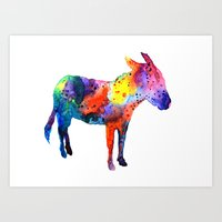 donkey Art Prints featuring Donkey by Luba Ost