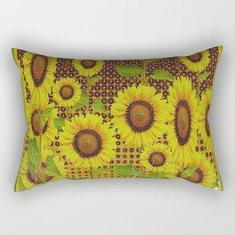 GRUBBY WORN BROWN SUNFLOWERS ART Rectangular Pillow